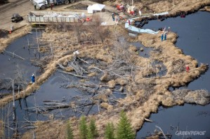 - Evi, Alberta, Canada - Crews work to clean up at Rainbow Pipeline's oil spill, the worst Alberta oil spill in 35 years, dumping 28, 000 barrels of oil into a wetland area at Evi, Alberta which is near Little Buffalo, Alberta, Canada.