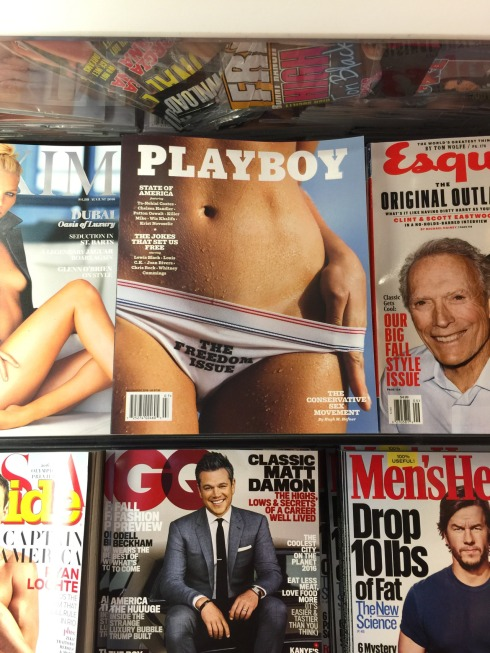 Apparently only the male face is appropriate for Magazine covers, females though, as long as you are almost naked, then you are allowed to have a head.