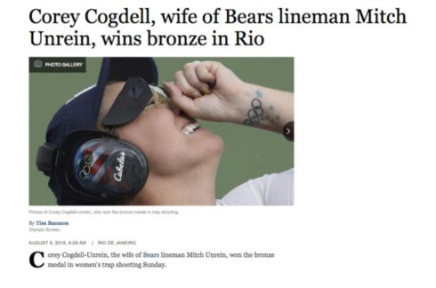 Oh, look who owns her. Her position of 'wife' is obviously relevant information as to HER Olympic achievement.